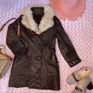 Vtg 70s Leather Trench Fur Collar Coat S M